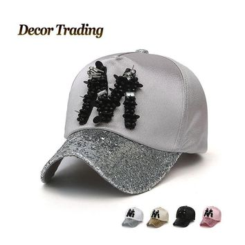 NEW 2017 Spring Summer Rhinestone M Letter Women Baseball Cap Snapback Hat Caps Female