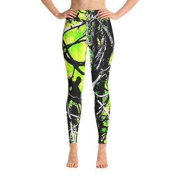 Neon Green Camo Yoga Leggings