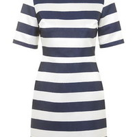 Satin Stripe A-Line Dress - Navy Blue
