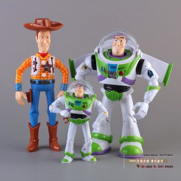 Free Shipping Toy Story 3 Buzz Lightyear Woody Sound Toys PVC Action Figures Model Toys Dolls 3pcs/set Christmas Gifts DSFG092