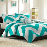 Adorable 4pc Teal Gray and White Reversible Chevron Full Queen Comforter Set