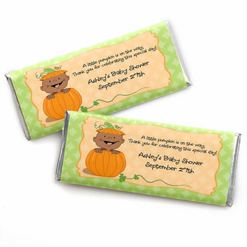 Little Pumpkin African American - Personalized Baby Shower Candy Bar Wrapper Favors