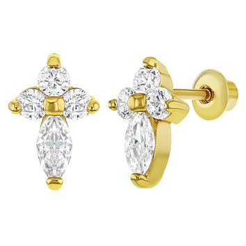 18K Gold Plated Clear CZ Little Cross Screw Back Earrings for Girls or Teens