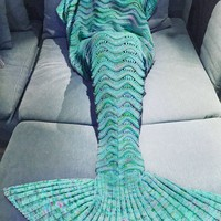 Mermaid Tail Crochet Blanket (71x35.5inches)