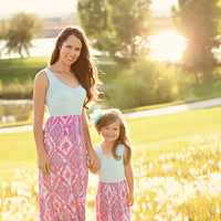 Girls Perky Pink Pattern Maxi - Ryleigh Rue Clothing by MVB