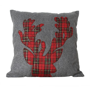 Plaid Reindeer Pillow