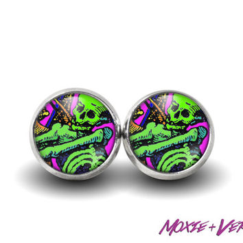 Skeleton Illustration Earrings, Pop Art, Dia De Los Muertos, Sugar Skulls, Glass Earrings, Mexican