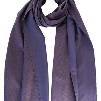 Tito-Double Face Heavy Weight Silk Scarf-Indigo & Brown