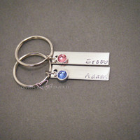Birthstone Keychains, Couples Keychains, Personalized Keychains, Couples Gift, Name Keychains, Boyfriend Girlfriend Gift, Stamped Keychains,