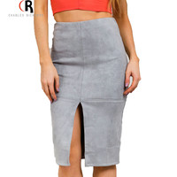 Women Grey Brown Front Split Knee Length Faux Suede Leather Office Lady Casual 2015 Autumn Midi Bodycon Pencil Skirt