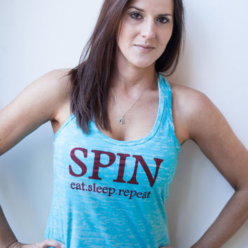 SPIN eat sleep repeat-Racer Back Tank