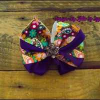 "Hair Bow,Boutique Bow ""Pretty Paisley Princess"" ,Hair Clip, Purple Hair Bows For Girls, Back To School Bow"