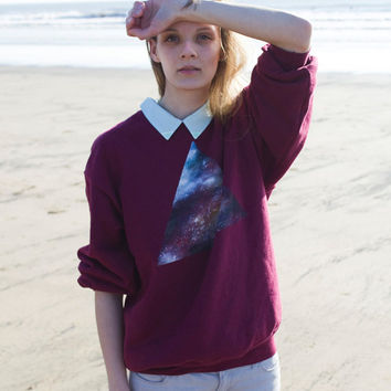 Hand Painted triangle galaxy jumper by WeAreHairyPeople on Etsy