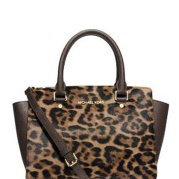 Michael Michael Kors Selma Medium Haircalf Leopard Satchel