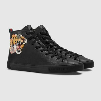 GUCCI Tiger head Embroidered high-top Leather Sneaker One-nice™