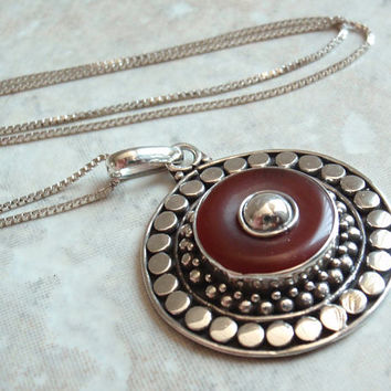 Carnelian Agate Necklace Sterling Silver Circles Dots Round Vintage 130501