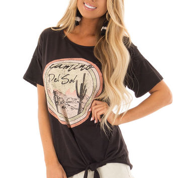 Ebony 'Camino Del Sol' Desert Graphic Top with Tie Detail