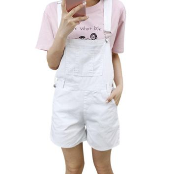 College Style Candy Color White Black Pink Shorts Overalls Slim Casual Summer Denim Bodysuit Women Loose Brief Straps Shorts