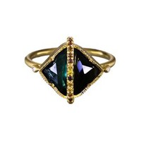 Tourmaline and Diamond Diptych Ring