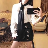 """""""Dior"""" Women Temperament Fashion Bee Embroidery Necktie Long Sleeve Shirt Double Row Buttons Short Skirt Set Two-Piece"""