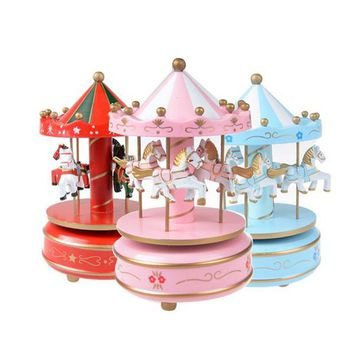 Wooden Merry-Go-Round Music Box - 50 Tones