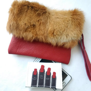 leather and fur clutch, recycled bag, fold over clutch, envelope clutch, manbag, fur pouch, leather pouch, furry pouch, fur clutch, upcycled