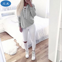 Sea mao Winter Autumn fashion New Women Long Sleeve Hoodie Sweatshirt Casual Solid Hooded Coat Pullover Perforated Jacket Tops