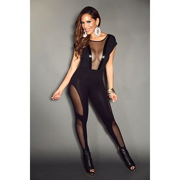 Black Short Sleeve Front Mesh Insert & Faux Leather Detail Stylish Bodysuit Top