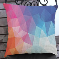 2016 New Design Colorful Geometric Lattice Printing Short Soft Plush Throw Pillows Home Chair Seat Back Waist Cushion