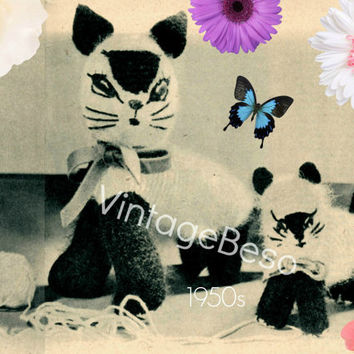Aristocratic Siamese Cat and Kitten KNITTING Pattern 50s Soft Toy Knitting Siamese Knitting Pattern RARE Knitting Pattern Vintage Beso