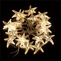 TLT 20 LED Starfish Shaped String Lights (Warm White), Great for Beach Party LED015