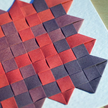 Paper weaving art card, greeting card, blank card, handmade card, 1st wedding anniversary, cards for her, paper anniversary,