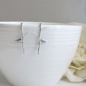 Bird on Twig Earring Stud. Matte Silver Plated Brass, 925 Sterling Silver Post. Spring Nature Woodland Style Tree Stick Branch Ear Accessory
