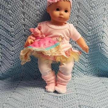 "15 inch Baby ""A Sweet Smell"" doll outfit Will fit Bitty Baby® Bitty Twins®  dress leggings socks headband piglet S6"