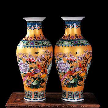 Luxury Jingdezhen Antique Porcelain Enamel Fish Tail Shape Vase Classical Decoration Large Chinese Vases Ancient Palace Vases