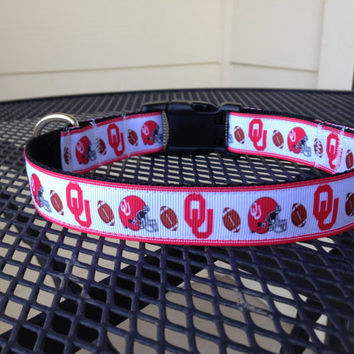 Dog Collar Made from OU Ribbon by SweetKeeps on Etsy