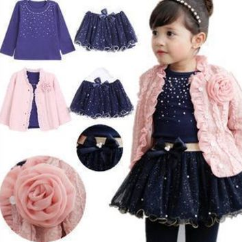 3 Pieces Flower Coat + Blue T Shirt + Tutu Skirt Girls Outfit