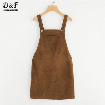 Dotfashion Bib Pocket Front Overall Dress Women Straps Sleeveless Preppy Spring Plain Zipper Button Pinafore Short Dress