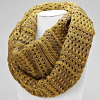 Cable Knit Mustard Infinity Scarf
