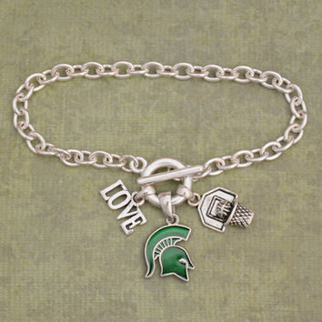 Michigan State Spartans Slam Dunk 3 Charm Iridescent Basketball Bracelet