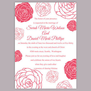 DIY Wedding Invitation Template Editable Word File Instant Download Printable Flower Invitation Rose Wedding Invitation Pink Invitations