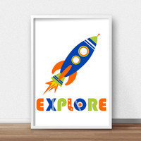 Kids Wall Art Print, Rocket Ship Kids Print,  Outer Space Kids Art, Space Nursery, Boys Room Art, Boys Wall Art,  Explore Print, Space Decor