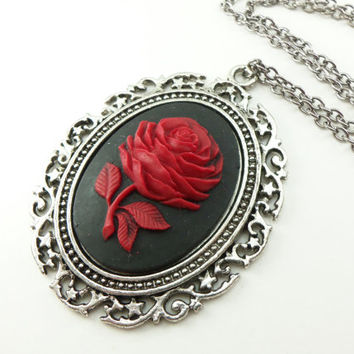Large Gothic Statement Necklace Black Red Rose Cameo Necklace Antiqued Victorian Dark Silver