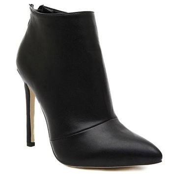 Black Pointed Toe Stiletto Heel Design Ankle Boots