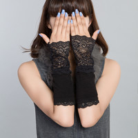 Winter Arm Warmers for Women Hand Warmer Black Cotton Fingerless Long Gloves Lace Arm Sleeve Arm Warmer