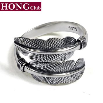 2017 New Arrival Takahashi Feather Open Classic Ring 100% Real 925 Sterling Silver Fashion Jewelry For Men or Women Hot Sale GR1