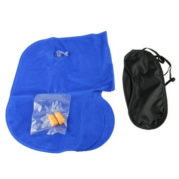 Recyclable Set 3 !n 1 Sleep Travel Kit Lady Man Inflatable Neck Air Cushion Pillow + Eye mask+2 Ear Plug Eco-Friendly Cosy