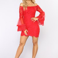 Lace In Love Mini Dress - Red