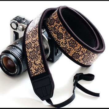 Interchangeable Neck camera strap    golden Web by sizzlestrapz