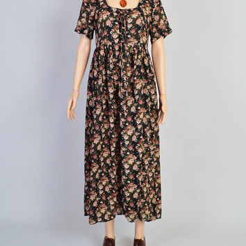 1990s Grunge Floral Dress / Vintage Maxi Dress / Rose Print / Sheer Fabric / Boho Style / Lace Up Bodice / Size Small